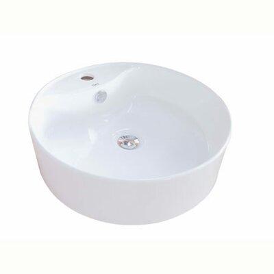 Uno Ceramic Circular Vessel Bathroom Sink with Overflow