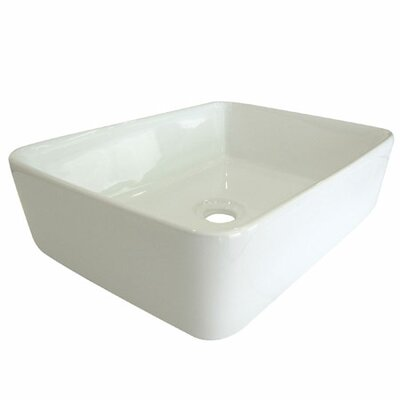 French Petite Ceramic Rectangular Vessel Bathroom Sink Sink Finish: White
