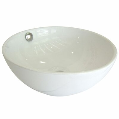 Le Country Ceramic Circular Vessel Bathroom Sink with Overflow