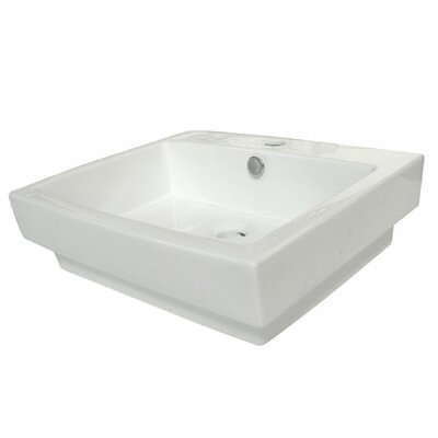 """Plaza Ceramic 24"""" Drop In Bathroom Sink with Overflow Sink Finish: White"""