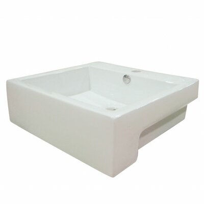 Concord Ceramic Square Vessel Bathroom Sink with Overflow Sink Finish: White