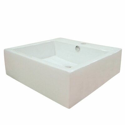 Commodore Ceramic Square Vessel Bathroom Sink with Overflow Sink Finish: White