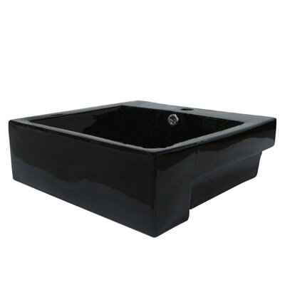 Concord Ceramic Square Vessel Bathroom Sink with Overflow Sink Finish: Black