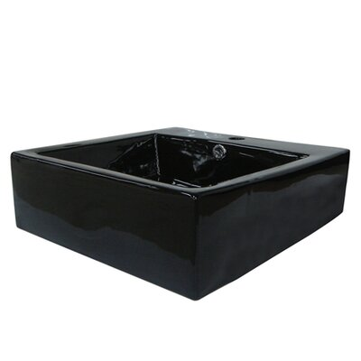 Commodore Ceramic Square Vessel Bathroom Sink with Overflow Sink Finish: Black