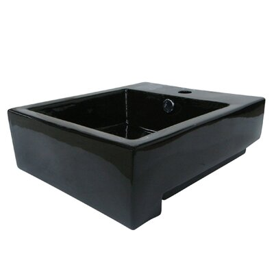 "Citadel Ceramic 17"" Wall Mount Bathroom Sink with Overflow Sink Finish: Black"