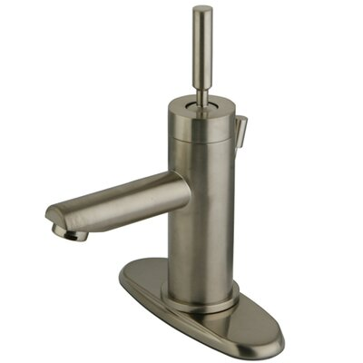 South Beach Mono Block Centerset Bathroom Faucet with Pop-Up Drain and Plate Finish: Satin Nickel
