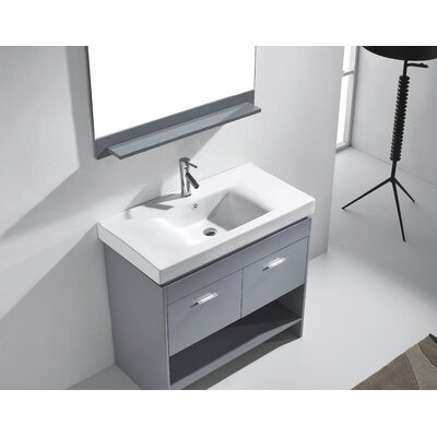 """Frausto 35"""" Single Bathroom Vanity Set with Ceramic Top and Mirror Base Finish: Gray, Faucet Finish: Polished Chrome"""