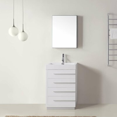 """Copher 23"""" Single Bathroom Vanity Set with White Top and Mirror Base Finish: Gloss White, Faucet Finish: Brushed Nickel"""