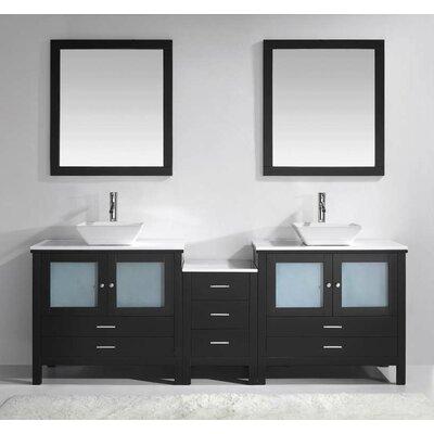 "Virtu Brentford 89"" Double Bathroom Vanity Set with White Stone Top and Mirror"