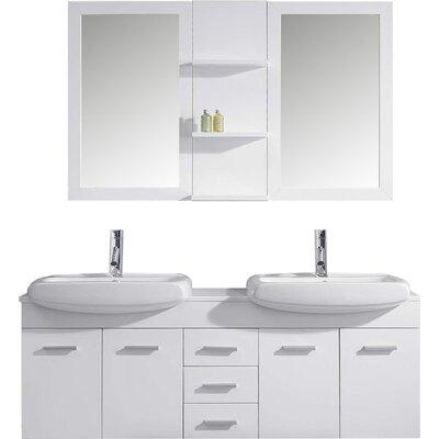 "Virtu Ophelia 60"" Double Bathroom Vanity Set with Mirrors"