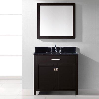 "Virtu Caroline 36"" Single Bathroom Vanity Set with Black Galaxy Top and Mirror"