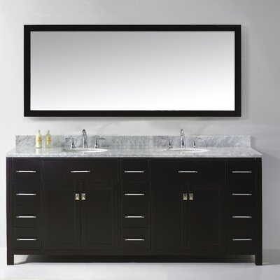"Virtu Caroline Parkway 78"" Double Bathroom Vanity Set with Carrara White Stone Top and Mirror"