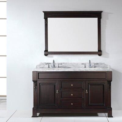 """Huntshire 60"""" Double Bathroom Vanity Set Base Finish: White, Faucet Finish: Brushed Nickel, Sink Shape: Square"""