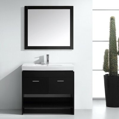 """Frausto 35"""" Single Bathroom Vanity Set with Ceramic Top and Mirror Base Finish: White, Faucet Finish: Polished Chrome"""