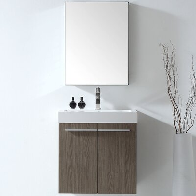 """Frausto 23"""" Wall-Mounted Single Bathroom Vanity Set with Mirror Faucet Finish: Polished Chrome"""