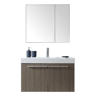 """Frausto 35"""" Wall-Mounted Single Bathroom Vanity Set with Mirror Faucet Finish: Polished Chrome"""