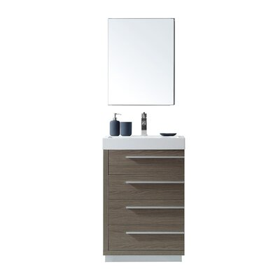 """Copher 22"""" Single Bathroom Vanity Set with Mirror Faucet Finish: Polished Chrome"""