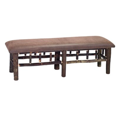 """Hickory Leather Fabric Bench Color: Black, Size: 18"""" H x 48"""" W x 17"""" D"""