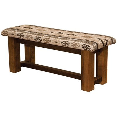 "Barnwood Upholstered Bench Size: 18"" H 48"" W x 17"" D, Color: Timber"