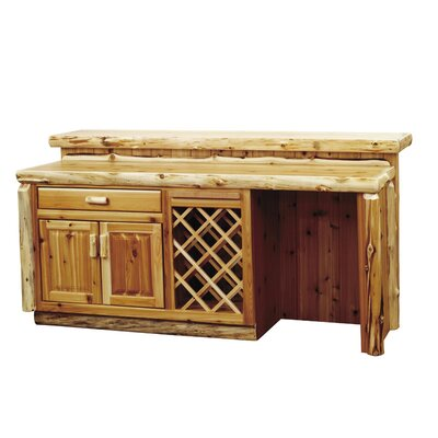 Traditional Cedar Log Bar with Wine Storage Opening: Refrigerator Opening on Left, Configuration: with Sink Cabinet