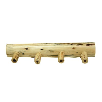 "Traditional Cedar Log Coat Rack with Pegs Size: 24"" with 4 Pegs"