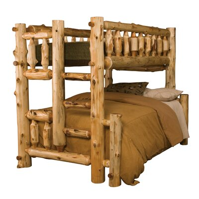 Traditional Cedar Log Bunk Bed Size: Twin over Twin, Ladder Side: Left, Color: Traditional