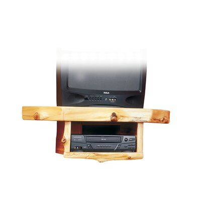 "Traditional Cedar Log Shelf Fixed Corner Mount for up to 32"" CRT TV Configuration: Standard Shelf with VCR/DVD Shelf"