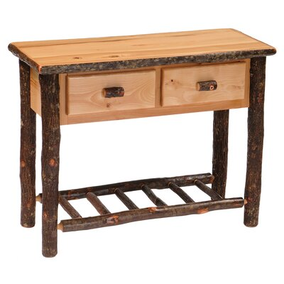 Hickory Two Drawer Console Table Color: Rustic Maple