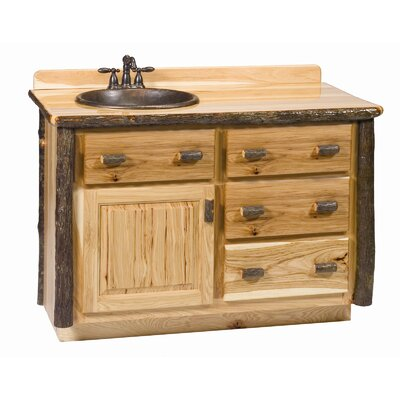 """Hickory 42"""" Bathroom Vanity Base Base Color: Rustic Maple / Right / Yes"""