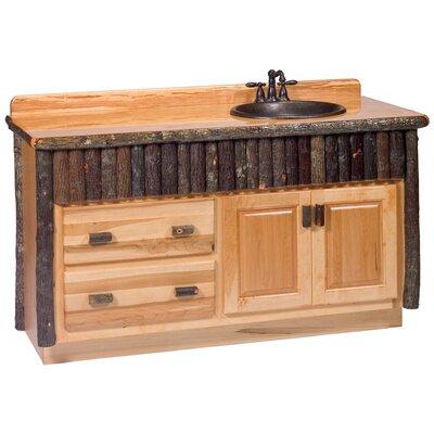 """Hickory 60"""" Bathroom Vanity Base Orientation: Left, Top: Rustic Alder, Base Color: Rustic Alder"""