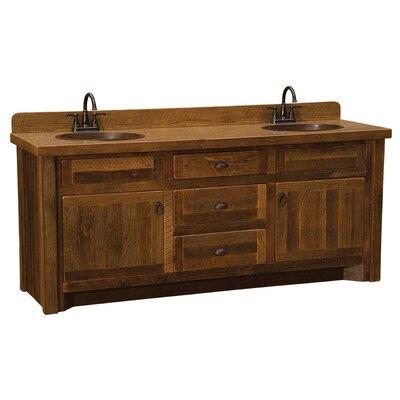 "Reclaimed Barnwood 72"" Bathroom Vanity Base Orientation: Center, Top: Laminate Top, Leg Style: Hickory Legs"