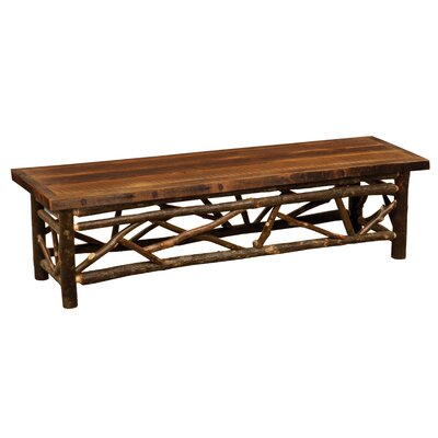 "Twig Bench Upholstery: Barnwood, Size: 18"" H x 48"" W x 18"" D"