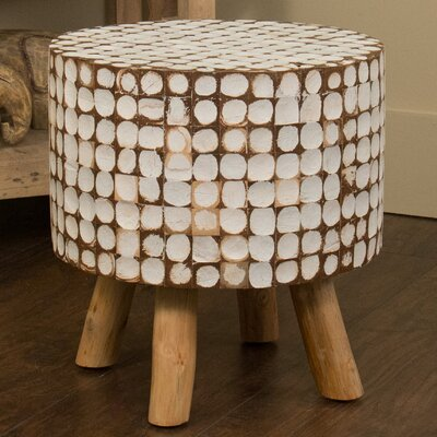 Cassia Teak Stool in White Wash