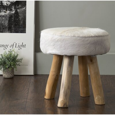 Talia Cowhide & Teak Stool in White