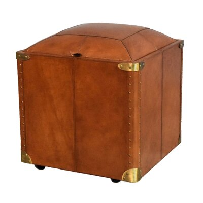 Aubrianne Genuine Leather Storage Accent Stool Color: Tan