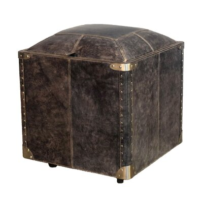 Aubrianne Genuine Leather Storage Accent Stool Color: Black