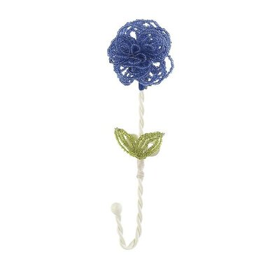 Beaded Flower Clothes Hook (Set of 4) Color: Blue