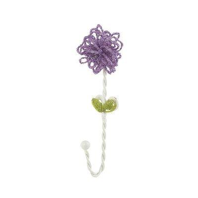 Beaded Flower Clothes Hook (Set of 4) Color: Lavender