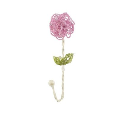 Beaded Flower Clothes Hook (Set of 4) Color: Pink