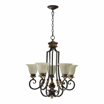 Quorum Capella 5 Light Chandelier in Toasted Sienna