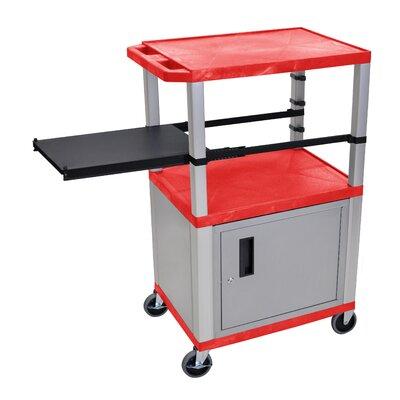 Presentation AV Cart with Side Pullout Shelf Leg/Cabinet Color: Nickel, Shelf Color: Red