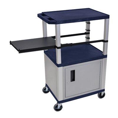 Presentation AV Cart with Side Pullout Shelf Leg/Cabinet Color: Nickel, Shelf Color: Topaz Blue
