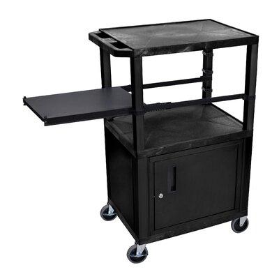 Presentation AV Cart with Side Pullout Shelf Leg/Cabinet Color: Black, Shelf Color: Black