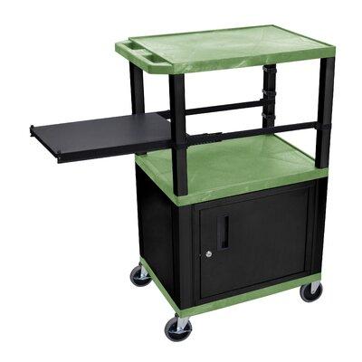Presentation AV Cart with Side Pullout Shelf Leg/Cabinet Color: Black, Shelf Color: Green