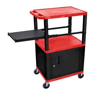 Presentation AV Cart with Side Pullout Shelf Leg/Cabinet Color: Black, Shelf Color: Red
