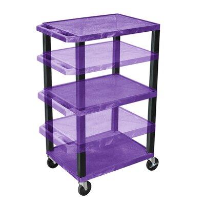 Tuffy Height Adjustable Open Shelf AV Cart Finish: Black, Shelf Color: Purple
