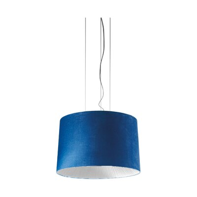 """Velvet Drum Pendant (Incandescent) Color: Ivory Shade with Warm White Diffuser, Size: 137.75"""" H x 39.38"""" W"""