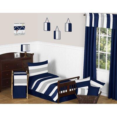 Stripe Collection 5 Piece Toddler Bedding Set Color: Navy/Gray