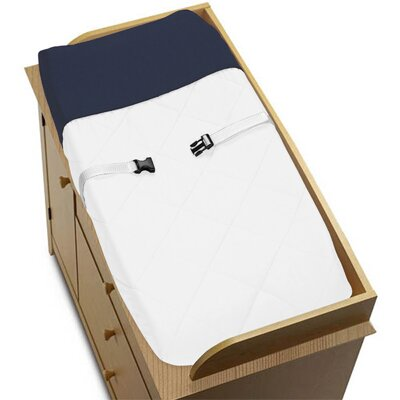 Sweet Jojo Designs Hotel White and Navy Collection Changing Pad Cover