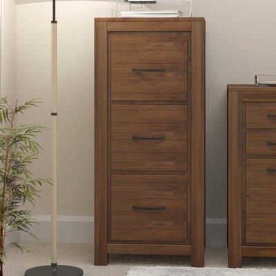 Baumhaus Mayan Walnut 3-Drawer Vertical Filing Cabinet